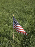 Small American Flag Sticks Out of the Ground  Greenleaf  Kansas