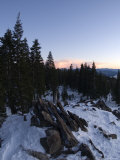Sunset on Snow Covered Mountain  California