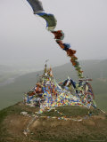 Tibetan Prayer Flags on the Temple of the Sun and Moon  Qinghai  China