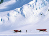 Two Bush Pilots Stand Outside their Planes on a Glacier  Alaska