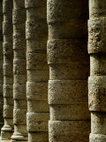 Side Angle View of Columns Along a Walkway  Asolo  Italy