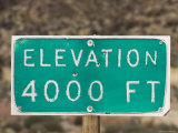 Weathered Elevation Sign on Highway 33 on Reyes Peak  California