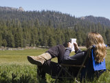Woman Relaxing with a Book in Sequoia National Forest  California