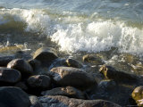 Waves Splash against Rocks at Leech Lake in Minnesota