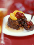 Christmas Pudding  Decorated with Clementine and Cranberries