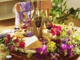 Cheese  Wine  Grapes  Clematis Flowers and Lavender