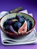 Fresh Figs in a China Bowl on a Cloth  Knife