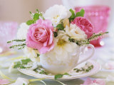White and Pink Roses and Heather in a Cup