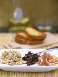 Tapas Plate: Beans with Lime  Olive Tapenade  Ham