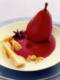 Red Wine Pear with Cheese and Star Anise