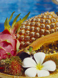 Exotic Fruits: Lychees  Red Pitahaya  Papaya  Pineapple