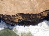 Waves Crash into the Steep Moroccan Coastline  Morocco