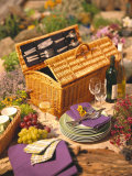 Still Life with Picnic Basket  Crockery  Glasses and Wine