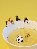 Footballers Looking for Ball in Noodle Soup Pond
