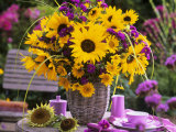 Arrangement of Sunflowers with Michaelmas Daisies