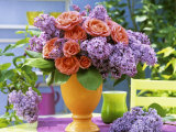 Arrangement of Roses and Lilac