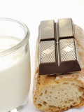 A Piece of Chocolate  Baguette and a Glass of Milk