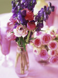 Romantic Floral Decoration and Champagne Glasses