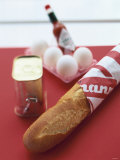 Baguette  Tin of Corned Beef  Eggs and Tabasco