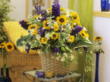 Arrangement of Delphiniums  Sunflowers and Coreopsis