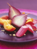 Poached Fruit (Pears  Rhubarb  Peaches)
