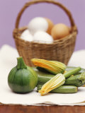 Still Life with Courgettes  Rondini and Egg Basket