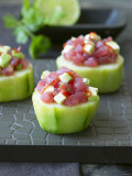 Cucumber Towers Topped with Tuna Tartare
