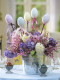 Easter Arrangement of Hyacinths Decorated with Eggs