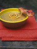Lentil Soup with Bacon  Fried Onions and Walnut Oil