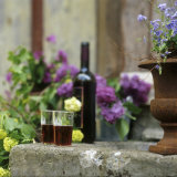 Red Wine Glasses & Red Wine Bottle on Stone Trough with Flowers