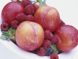 Fruit Bowl with Red Plums and Raspberries