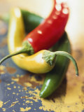 Yellow  Red and Green Chili Peppers
