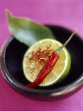 Still Life with Lime  Chili  Saffron and Kaffir Lime Leaf