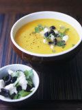 Yellow Pepper Cream Soup with Feta  Olives and Parsley