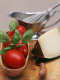 Fresh Tomatoes  Basil and Piece of Cheese  Sauce-Boat