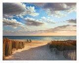 Coucher de soleil sur la plage Reproduction d'art par Daniel Pollera