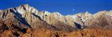 Rock Formations on a Mountain Range  Moonset over Mt Whitney  Lone Pine  California  USA