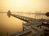 Lotus Lake  Nine Cornered Bridge and Wuli Pagoda  Dawn  Sunrise  Kaohsiung  Taiwan
