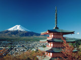 Mount Fuji and Pagoda  Hakone  Honshu  Japan