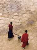 Monks Carrying Yak Butter  Ganden Monastery  Tagtse County  Tibet