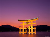 Miyajima Island  Itsukushima Shrine  Torii Gate  Night View  Honshu  Japan
