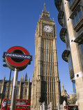 Westminster  Big Ben and Underground  Subway Sign  London  England