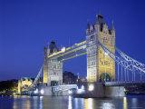 Tower Bridge and Thames River  London  England