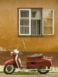 Red Moped  Sighisoara  Transylvania  Romania