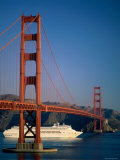 Golden Gate Bridge and Cruise Ship  San Francisco  California  USA