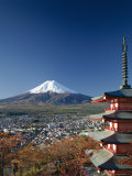 Mount Fuji and Pagoda  Honshu  Japan