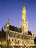 Grand Place  Town Hall  Night View  Brussels  Belgium