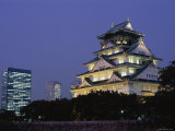 Osaka Castle and City Skyline  Night View  Osaka  Honshu  Japan
