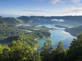 Sete Cidades Village with Lagoa Azul and Lagoa Verde  Sao Miguel Island  Azores  Portugal