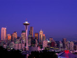 City Skyline and Space Needle  Mount Rainier in Background  Seattle  Washington  USA